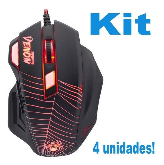Kit 4 Mouse Gamer Com 7 Botoes Spider Venom Luz Vermelha Top