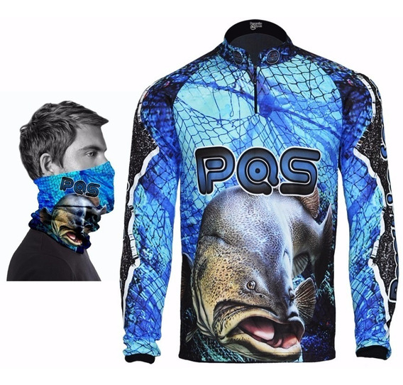 Camiseta De Pesca + Bandana De Proteção Ref 11 Uv50+