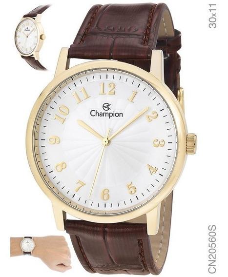 Relógio Social Champion Feminino Dourado Cn20560s Em Couro