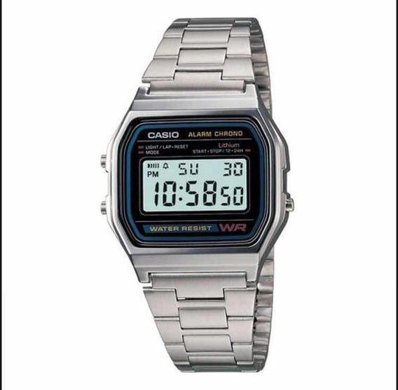 Relógio Casio Digital Retro A158w Prata A Prova De Agua