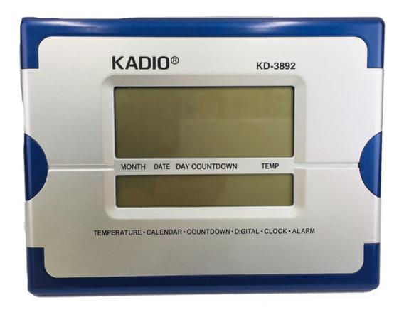 Reloj Escritorio Digital Fechador 26cm X 20cm Azul Kadio