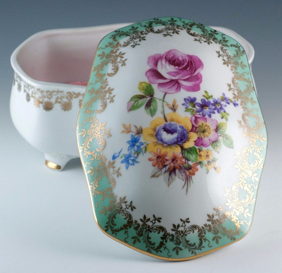 Antiguo Alhajero Flores Porcelana Alemana Germany