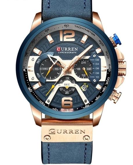 Relógio Curren Masculino Funcional Pulseira Couro Azul