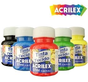 Kit Com 12 Tintas De Tecido Acrilex 37ml