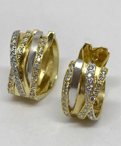 Glitter Joias - Brincos Argolas Vancox Ouro E Diamantes