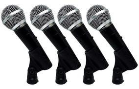Kit 4 Microfones De Mão Com Fio Leson Ls50
