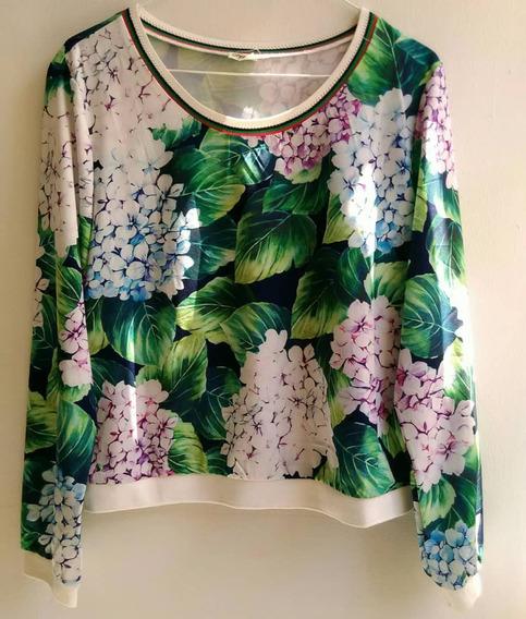 Camisa Sueter Para Dama De Estampado Flores Talla L