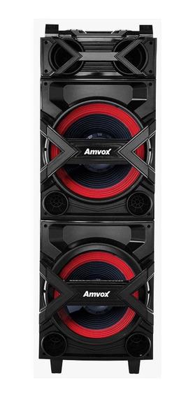 Caixa De Som Amplificada Aca-750 750w Rms Amvox Bluetooth Sd