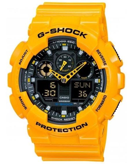 Relógio G-shock Masculino Ga-100a-9adr Amarelo