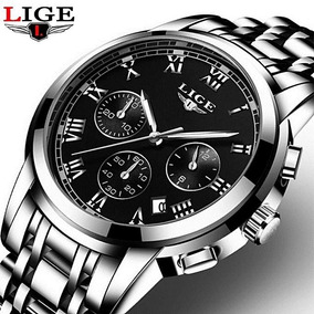 Relógio Masculino Aço Inoxidável Prateado Original