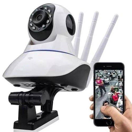 Câmera Ip Sem Fio 360° 3 Antenas Hd Wifi Rj45 + Cartão 32gb