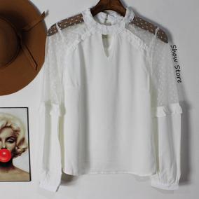 e120d83d2 Blusa Com Transparencia Tule - Blusas Feminino Branco no Mercado ...