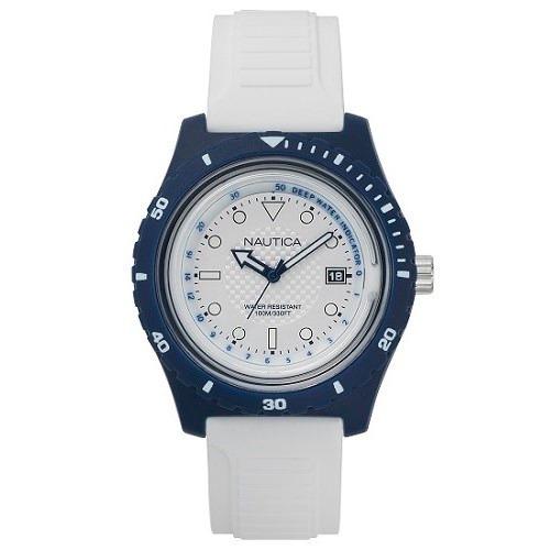 Relógio Nautica Masculino Borracha Branca - Napibz006