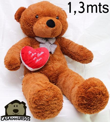 Imagem 1 de 10 de Urso Gigante Marrom 1,3 Metros 130cm Com Coração Romântico