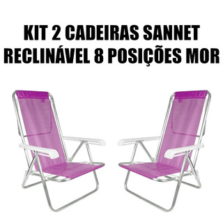 Kit 2 Cadeira Reclinável Alumínio 8 Posições Dobrável Sanet
