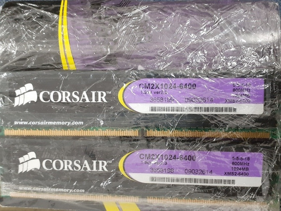 Kit Memoria Ram Corsair Ddr2 2x1gb 800mhz Xms2 Excelentes