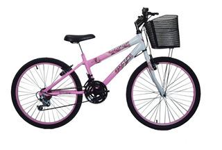 Bicicleta Aro 24 New Bike 18 Marchas C/ Cesta Feminina
