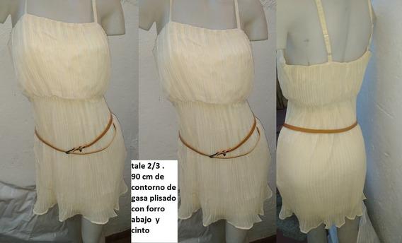 Vestido Plisado Gasa Mini Color Natural Talle 2.90 De Busto