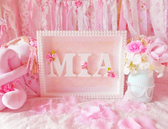 Cuadrito Infantil Mia Shabby Chic Perlas (única Unidad)