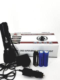 Lanterna Led Police Flash 388.000 + 2 Baterias E 3 Modos