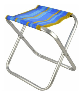 Banqueta / Cadeira Dobrável Camping/ Pesca Mor Aluminio Azul