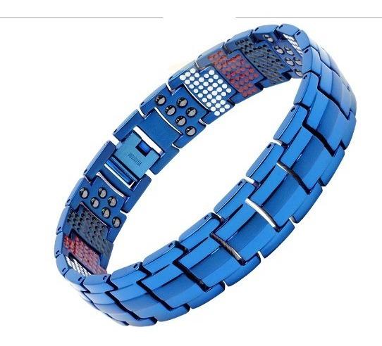 Pulseira De Titânio 591 Pedras Terapêuticas Bracelete Azul