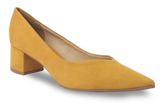 Sapato Scarpin Couro Bottero Salto Bloco Feminino 300703