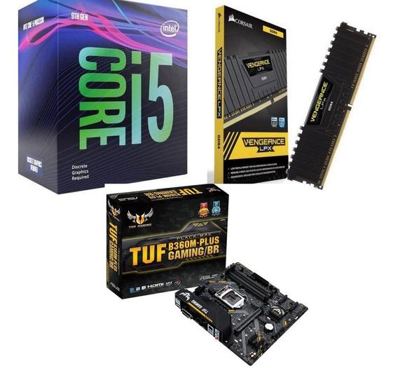 Kit Gamer I5-9400f + Asus Tuf B360m-plus + Mem Corsair 8gb