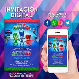 Tarjetas De Invitacion De Heroes En Pijamas En Mercado Libre