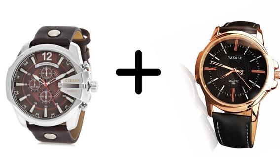 Kit 2 Relógios Masculino Curren Prata E Yazole Preto