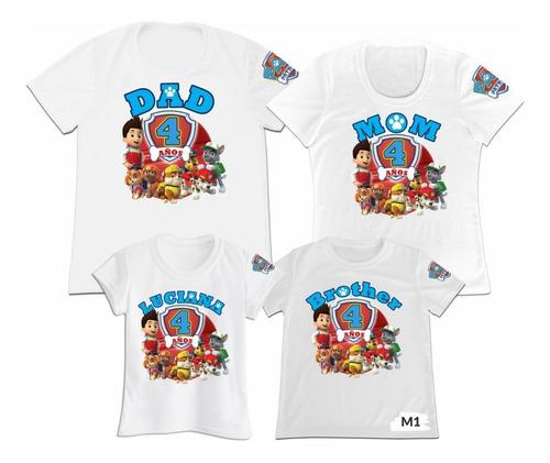 Camiseta Set 4 Familia Paw Patrol Papa Mama Hijo Hija