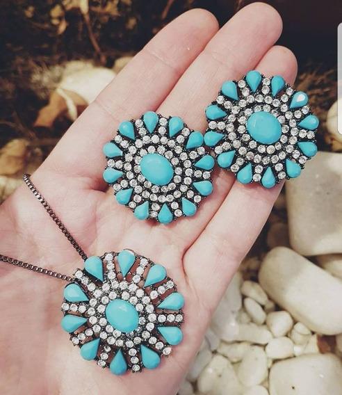 Conjunto De Brinco E Colar Com Pedras Azul Turquesa