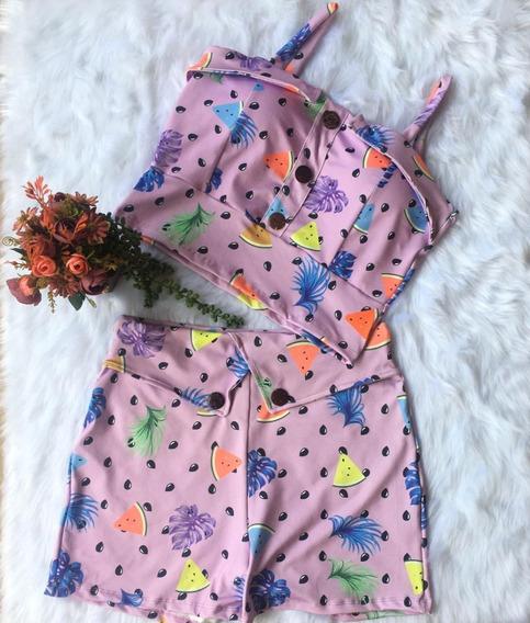 Conjunto Feminino Blusa E Shorts Plus Size
