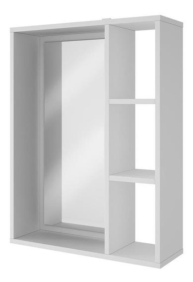 Armário Aéreo Para Banheiro Em Mdp, 3 Prateleiras - Brv Móveis Versa Bbn 03 - Branco