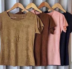 Blusinha Blusa Suede Inverno Lisa T Shirt Camurça