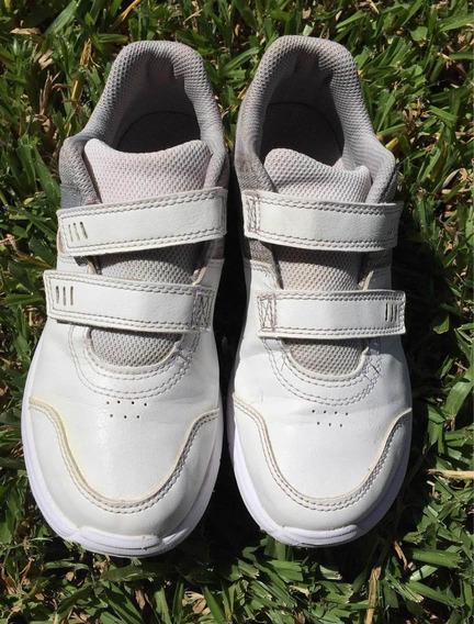 Zapatillas Clasicas Blancas Con Velcro Num.32