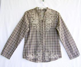 Camisa Feminina Xadrez Usada Tamanho G Esotérica Bordada