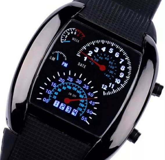 Relógio Pulso Black 30 Led Iluminado Azul Data Digital Homem
