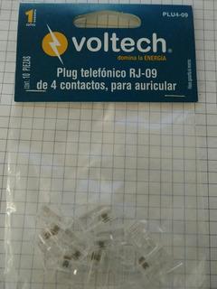 Plug Telefónico Rj09 De 4 Contactos Para Auricular Voltech
