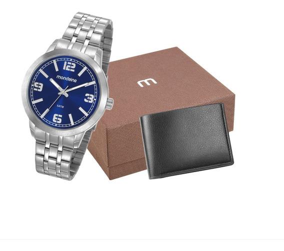 Relógio Masculino Mondaine Prateado Original Nfe 53792g0mgne2k1 Com Carteira Preta De Fabrica - Tamanho Médio - 5atm