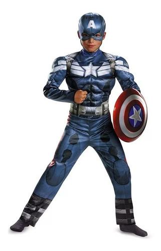 Imagen 1 de 6 de Disfraz Capitán América Mascara Avengers Super Héroes Niño