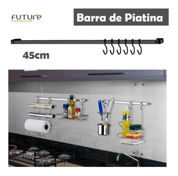 Barra Piatina 45cm 6 Ganchos Utensílios Onix Preto - 2411ox