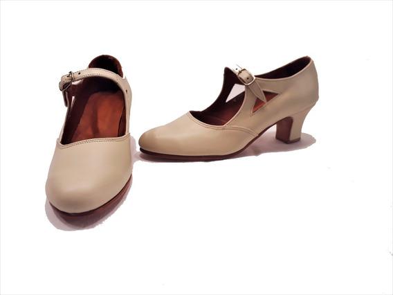 Zapatos De Danza Español Y Folklore En Cuero Natural