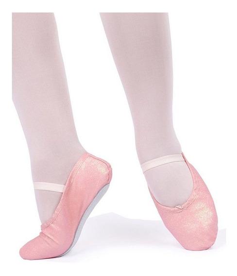 Sapatilha Meia Ponta Só Dança Com Glitter Para Balé Inf Rosa