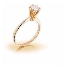 Anel Solitário Em Ouro Branco Ou Amarelo Com Diamante 50pt