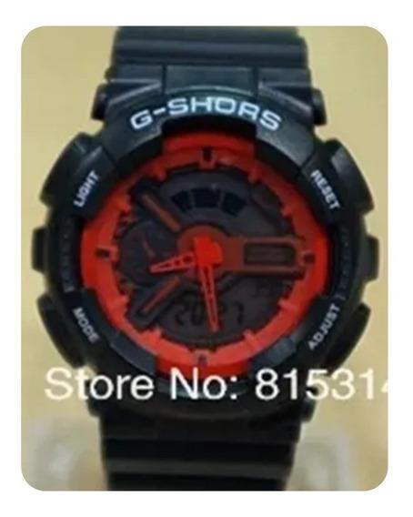 Relógio Grande G-shors Esportivo Importado Preto E Vermelho