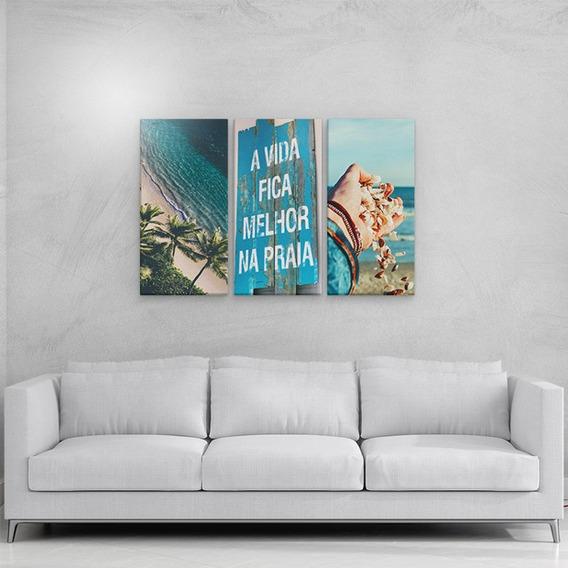Conjunto Kit 3 Placas Quadros Decorativos Mar Concha 64x40cm