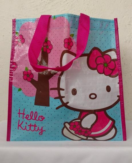 Bolsa Reusable De Hello Kitty, Azul Con Fiusha