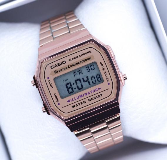 Reloj Casio Rosa Dorado Negro Plata A168 Vintage Envio Grati