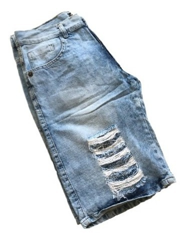 Bermuda Colorida Jeans Sarja Masculina Tamanho Normal